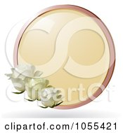 Royalty Free Vector Clip Art Illustration Of Three White Roses With A Round Frame by elaineitalia