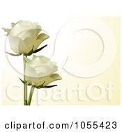 Royalty Free Vector Clip Art Illustration Of Two White Roses On Cream by elaineitalia