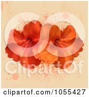 Royalty Free Vector Clip Art Illustration Of Orange And Red Hibiscus Flowers On Beige With Splatters by elaineitalia