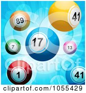 Royalty Free Vector Clip Art Illustration Of Lottery Balls On A Blue Burst