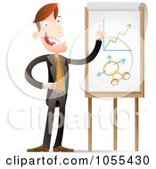 Royalty Free Vector Clip Art Illustration Of A Businessman Explaining Statistic Charts