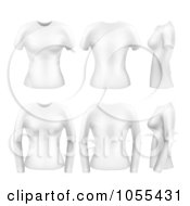 Digital Collage Of White Womens Short And Long Sleeved T Shirts