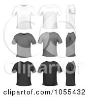 Digital Collage Of Mens White Gray And Black T Shirts