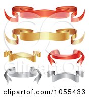 Royalty Free Vector Clip Art Illustration Of A Digital Collage Of Red Gold And Silver Ribbon Banners by vectorace