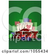 Royalty Free CGI Clip Art Illustration Of 3d Lucky Sevens With Blue Casino Dice Poker Chips And Playing Cards by stockillustrations