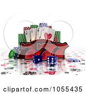 Royalty Free CGI Clip Art Illustration Of 3d Lucky Sevens With Blue Casino Dice Poker Chips And Cards