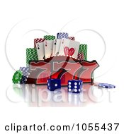 3d Red Lucky Sevens With Blue Casino Dice Poker Chips And Cards