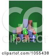 Royalty Free CGI Clip Art Illustration Of 3d Casino Gambling Poker Chips On Green