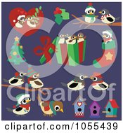 Royalty Free Vector Clip Art Illustration Of A Digital Collage Of Christmas Chickadees On Purple