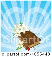 Royalty Free Vector Clip Art Illustration Of A Easter Lilies On A Bible Over Blue Rays