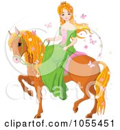 Royalty Free Vector Clip Art Illustration Of A Red Haired Princess On A Horse