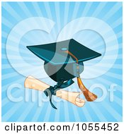 Diploma By A Graduation Cap And Tassel Over Blue Rays