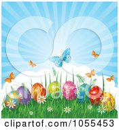Royalty Free Vector Clip Art Illustration Of Butterflies Over Easter Eggs In Grass Against A Shining Sky