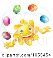 Royalty Free Vector Clip Art Illustration Of A Happy Sun Juggling Easter Eggs by Pushkin