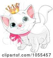 Royalty Free Vector Clip Art Illustration Of A Spoiled White Kitten Wearing A Crown