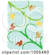 Background Of Birds On Vines Over Blue With White Grunge Borders