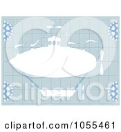 Royalty Free Vector Clip Art Illustration Of A White Airship Over Blueprints by mheld