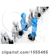 Royalty Free CGI Clip Art Illustration Of 3d Blue Business Men Shaking Hands In A Line Of White Men by 3poD