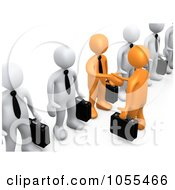 Royalty Free CGI Clip Art Illustration Of 3d Orange Business Men Shaking Hands In A Line Of White Men by 3poD