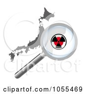 Royalty Free Clip Art Illustration Of A Radiation Magnifying Glass Over Japan by MacX