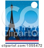 Royalty Free Vector Clip Art Illustration Of The Silhouetted Eiffel Tower And Other Famous Paris Buildings Against A Night Sky by Maria Bell