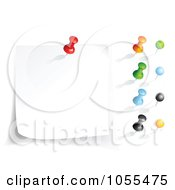 Royalty Free Vector Clip Art Illustration Of A Digital Collage Of Colorful Push Pins And A Piece Of Paper