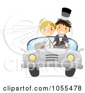 Royalty Free Vector Clip Art Illustration Of A Wedding Couple In A Convertible Car by BNP Design Studio