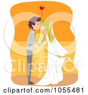 Royalty Free Vector Clip Art Illustration Of A Bride And Groom Kissing At Sunset