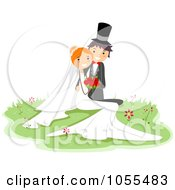 Royalty Free Vector Clip Art Illustration Of A Wedding Couple Posing In Grass