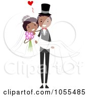 Royalty Free Vector Clip Art Illustration Of A Happy Black Wedding Couple The Groom Carrying The Bride