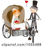 Royalty Free Vector Clip Art Illustration Of A Groom Pulling His Bride On A Bicycle Carriage