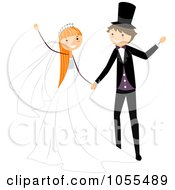 Royalty Free Vector Clip Art Illustration Of A Bride And Groom Dancing At Their Wedding 2