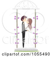 Royalty Free Vector Clip Art Illustration Of A Bride And Groom Kissing In A Gazebo