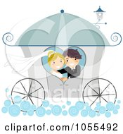 Royalty Free Vector Clip Art Illustration Of A Wedding Couple In A Carriage
