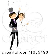 Royalty Free Vector Clip Art Illustration Of A Bride And Groom Dancing At Their Wedding 5