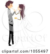 Royalty Free Vector Clip Art Illustration Of A Wedding Couple Feeding Each Other Cake by BNP Design Studio