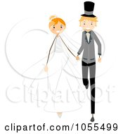 Royalty Free Vector Clip Art Illustration Of A Wedding Couple Walking After Their Wedding