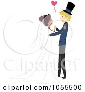 Royalty Free Vector Clip Art Illustration Of A Bride And Groom Dancing At Their Wedding 1