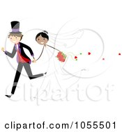 Royalty Free Vector Clip Art Illustration Of A Wedding Couple Running After Their Wedding