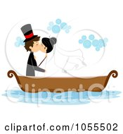 Royalty Free Vector Clip Art Illustration Of A Bride And Groom Kissing In A Boat