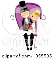 Royalty Free Vector Clip Art Illustration Of A Wedding Couple Sitting In A Chair