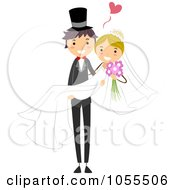 Royalty Free Vector Clip Art Illustration Of A Happy Wedding Couple The Groom Carrying The Bride