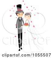 Royalty Free Vector Clip Art Illustration Of A Wedding Couple Walking Down The Aisle 2