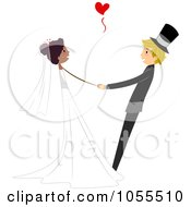 Royalty Free Vector Clip Art Illustration Of A Bride And Groom Dancing At Their Wedding 4