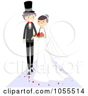 Royalty Free Vector Clip Art Illustration Of A Wedding Couple Walking Down The Aisle 1