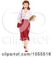 Royalty Free Vector Clip Art Illustration Of A Sexy Retro Pinup Secretary Carrying Documents by BNP Design Studio