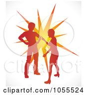 Royalty Free Vector Clip Art Illustration Of A Silhouetted Couple Fighting Over An Orange Burst