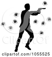 Royalty Free Vector Clip Art Illustration Of A Silhouetted Action Hero Shooting Over Bullet Holes 3