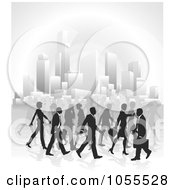 Royalty Free Vector Clip Art Illustration Of Silhouetted Business People Walking In A City