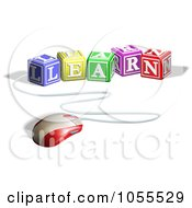 Royalty Free Vector Clip Art Illustration Of A Computer Mouse Connected To Learn Letter Blocks by AtStockIllustration